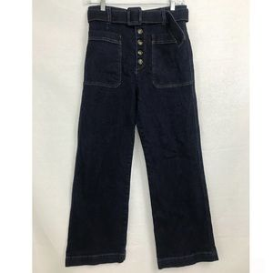 We The Free People High Rise Belted Jeans